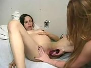 Pregnant slutty and lesbian share huge dildo