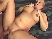 Pregnant blonde hard fucked in bed