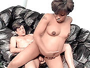 Mocha babe riding a huge cock hard to fill her knocked up cunt