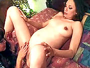 Slutty brunette tongue-fucking a very pregnant fuckwhore.