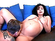 Aggressive stud banging a pregnant whore while massaging her huge hooters.