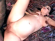 Lactating mom opening wide for some serious pussy-drilling.