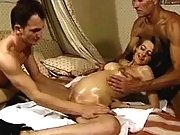 Men caress horny pregnant slutty