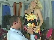 Beautiful preggy blonde spoils guy