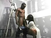 Pregnant ebony girl plays with cock