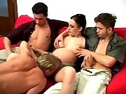 Guys lick pregnant slutty on sofa
