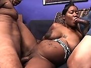 Pregnant ebony girl serves two men