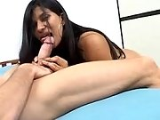 Latina preggo gets cumload on lips